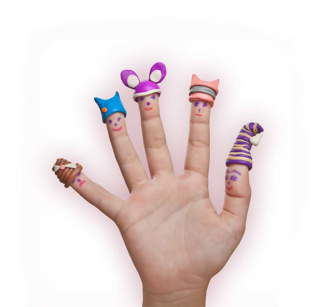 Photograph of the visual works team as finger puppets