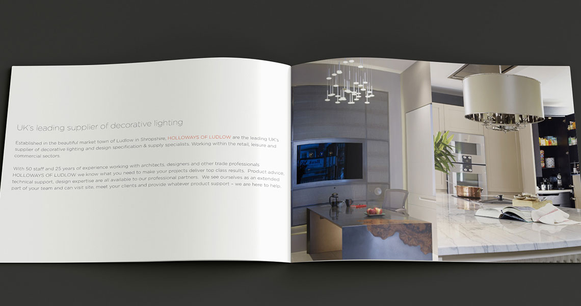 The light design is carried on in the product brochures but the focus on the beauty of the product.