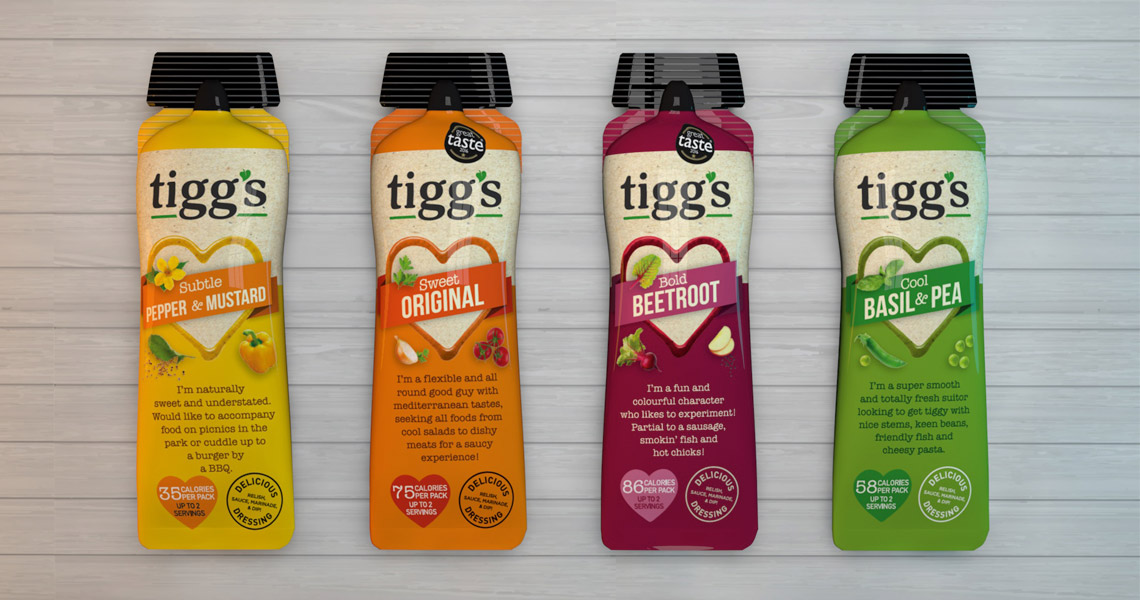 product packaging designs for tiggs quality sauces